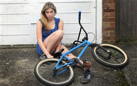 Blue dress girl, bike HD wallpaper