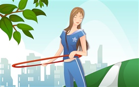Blue dress vector girl sport