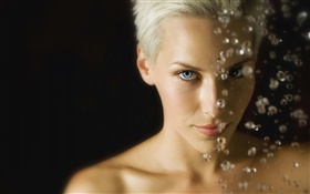 Blue eyes girl, short hair, water drops
