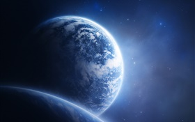 Blue planets and blue space HD wallpaper