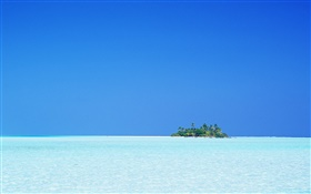 Blue sea, island, sky, Maldives HD wallpaper