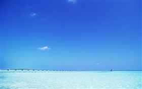 Blue sea, pier, Maldives HD wallpaper