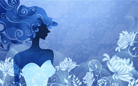 Blue style, fashion vector girl, flowers