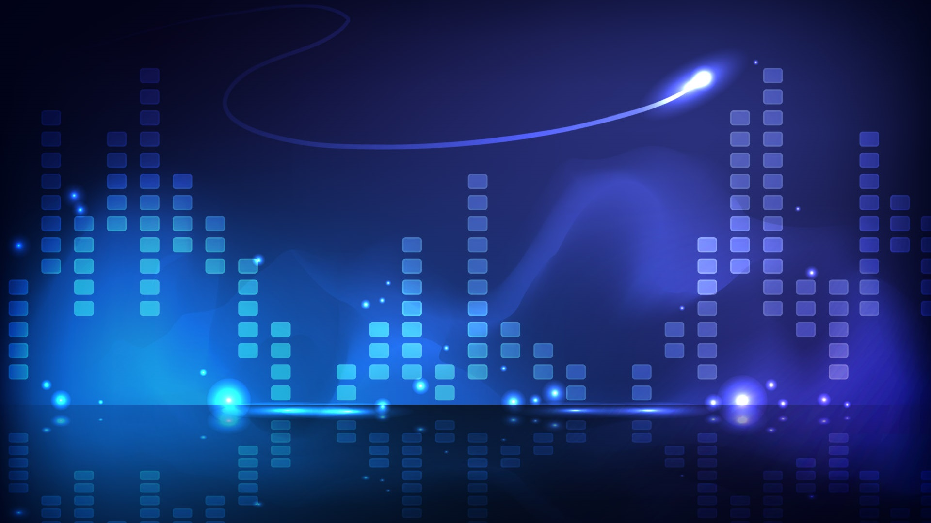 Blue style, music column, abstract pictures 1920x1080 wallpaper