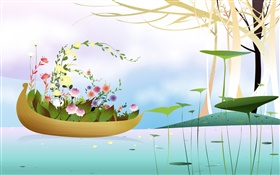 Boat, flowers, trees, river, spring season, creative, vector design HD wallpaper