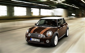 Brown color MINI car speed HD wallpaper