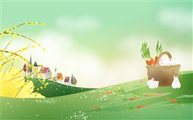 Carrots, white rabbit, basket, spring theme vector image HD wallpaper
