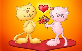 Cat's Love HD wallpaper