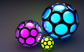 Cell colored balls, look like football, 3D pictures HD wallpaper