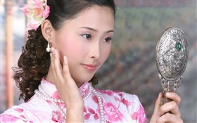 Cheongsam girl use the mirror, China, Asian HD wallpaper