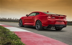 Chevrolet Camaro ZL1 red supercar back view HD wallpaper