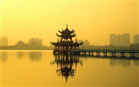 Chinese landscape, a pavilion, lake, dusk HD wallpaper