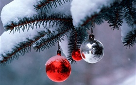 Christmas balls, tree, twigs, thick snow HD wallpaper