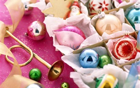 Christmas decoration, balls, ribbon HD wallpaper
