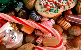 Christmas food, candy, cake, toy HD wallpaper