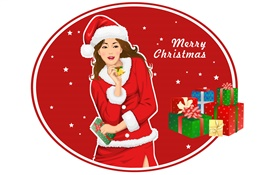 Christmas girl, gifts, vector design HD wallpaper