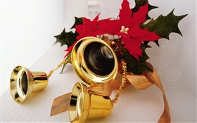 Christmas, gold color bells HD wallpaper