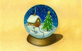 Christmas theme pictures, ball, art design HD wallpaper