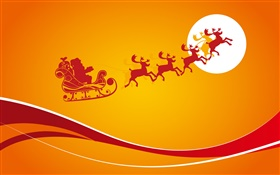 Christmas theme pictures, orange background, moon, vector