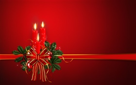Christmas theme, ribbon, candles, red background HD wallpaper
