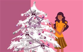 Christmas tree and girl, vector design HD wallpaper