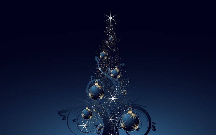 Christmas tree, balls, stars, dark blue style, vector Wallpapers Pictures Photos Images