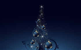 Christmas tree, balls, stars, dark blue style, vector HD wallpaper