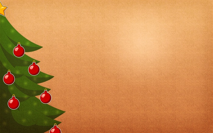 Christmas tree, red balls, orange background Wallpapers Pictures Photos Images