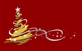 Christmas tree, simple style, red background HD wallpaper