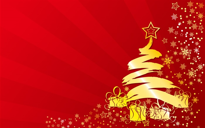 Christmas tree, stars, gifts, gold color, vector pictures Wallpapers Pictures Photos Images