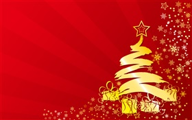 Christmas tree, stars, gifts, gold color, vector pictures HD wallpaper