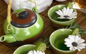 Chrysanthemum, tea, towels, SPA theme HD wallpaper