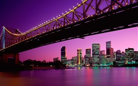 City, bridge, buildings, lights, Australia HD wallpaper