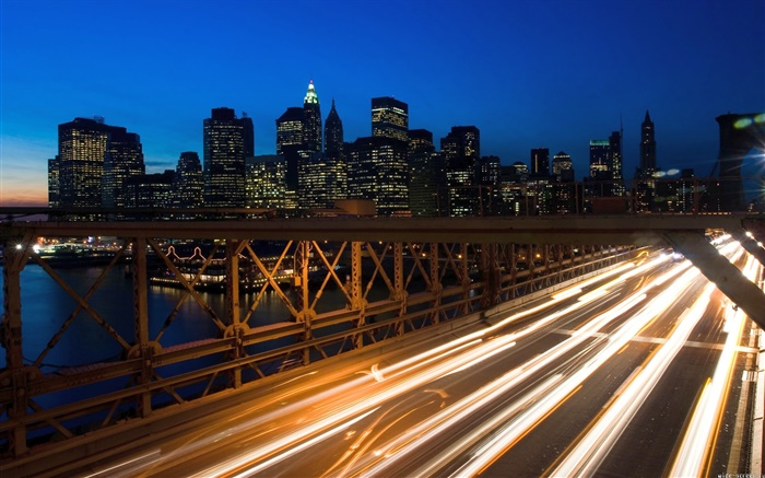 City night, bridge, traffic lights, buildings Wallpapers Pictures Photos Images