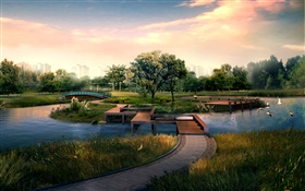 City park, wooden bridge, river, birds, trees, 3D design HD wallpaper