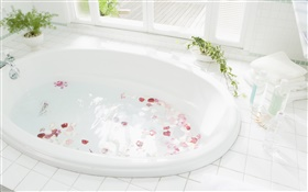 Closeup bathtub, water, petal HD wallpaper