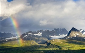 Cloudy sky, mountains, grass, rainbow HD wallpaper