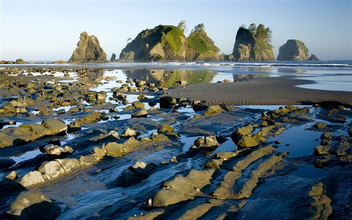 Coast, rocks, water, dusk Wallpapers Pictures Photos Images