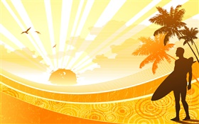 Coast, tropical, palm trees, sun, man, vector design