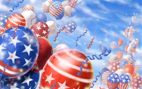 Colorful balloons, festival, sky, American flag HD wallpaper