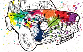Colorful painting car, creative design HD wallpaper