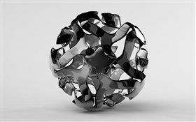 Creative 3D ball, white and black HD wallpaper