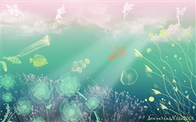 Creative design, art, underwater, sea, fish, flowers, angel HD wallpaper
