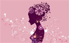 Creative design, vector girl, flowers, pink background HD wallpaper