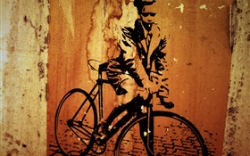 Creative painting, bicycle, wall HD wallpaper