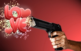 Creative pictures, gun out love HD wallpaper