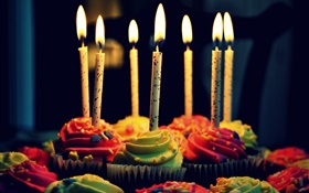 Cupcakes, candles, Happy Birthday HD wallpaper