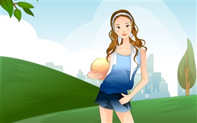 Curly hair vector girl hold a ball HD wallpaper