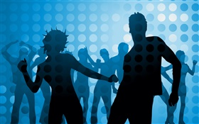 Dance people, blue background, vector design pictures HD wallpaper