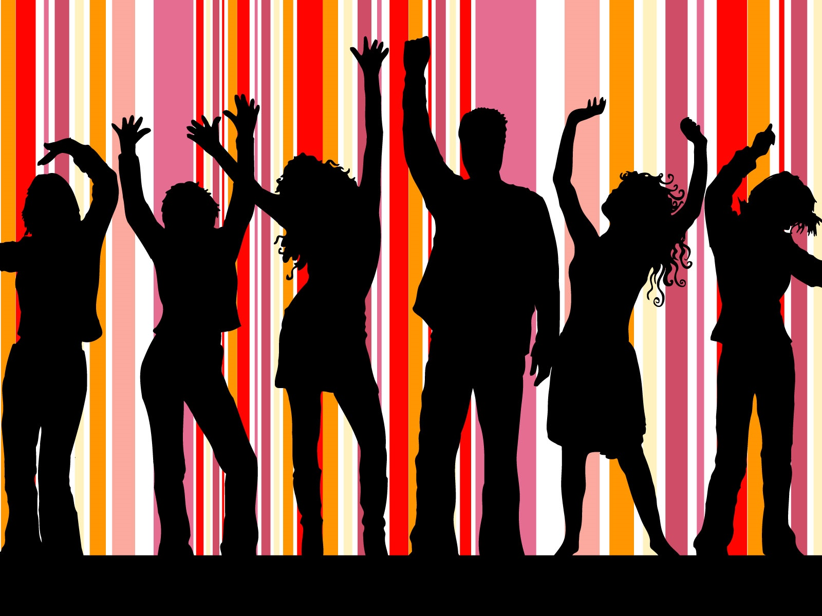 Dance people, striped background, vector design 1600x1200 wallpaper